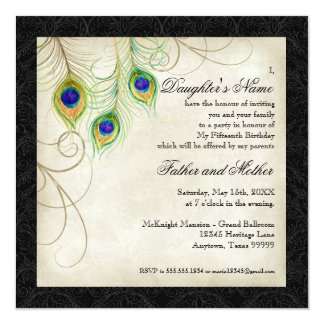 """Peacock Feathers Black Damask Quinceanera Party 5.25"""" Square Invitation Card"""