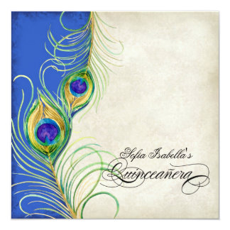 """Peacock Feathers Blue Damask Quinceanera Party 5.25"""" Square Invitation Card"""