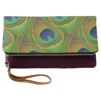 Peacock Feathers Blue Green Clutch Bag