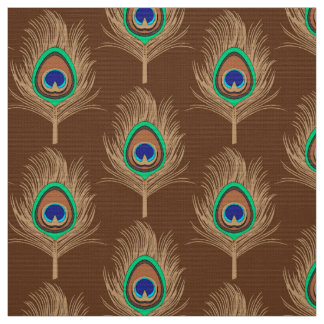 Peacock Feathers, Camel Tan on Chocolate Brown Fabric