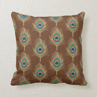 Peacock Feathers, Camel Tan on Chocolate Brown Throw Pillow