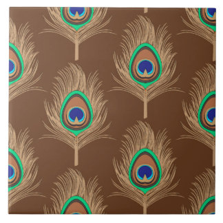 Peacock Feathers, Camel Tan on Chocolate Brown Tiles