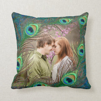Peacock feathers customized add photo pillow