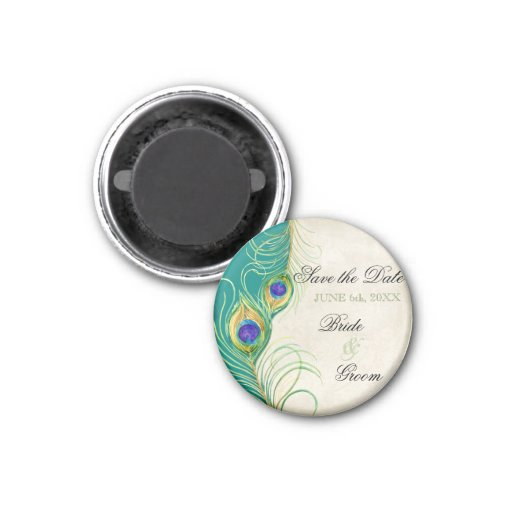 Peacock Feathers Damask Save the Date Refrigerator Magnets