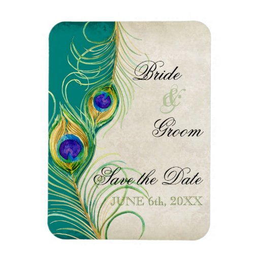 Peacock Feathers Damask Save the Date Rectangle Magnet