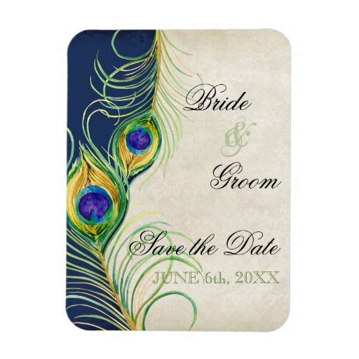 Peacock Feathers Damask Save the Date Vinyl Magnet
