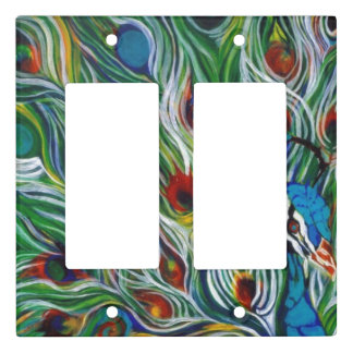Peacock Feathers Double Rocker Light Switch Cover