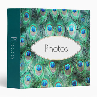 Peacock Feathers Exotic Wild Watercolor Pattern 3 Ring Binders