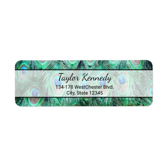 Peacock Feathers Exotic Wild Watercolor Pattern Return Address Label