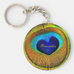 Peacock Feathers Eye of Love With Name Keychain