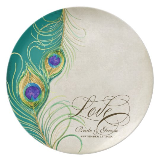 Peacock Feathers Formal Wedding Anniversary Gift Plate