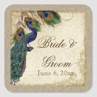 Peacock & Feathers Formal Wedding Favor Seals Tags Square Sticker