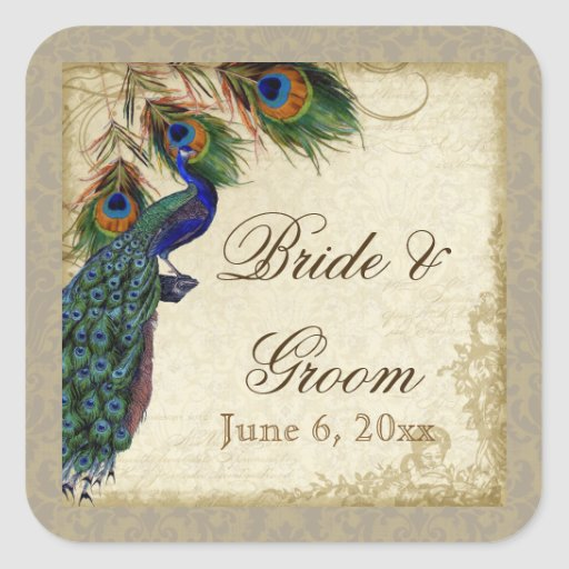 Peacock & Feathers Formal Wedding Favor Seals Tags Square Stickers