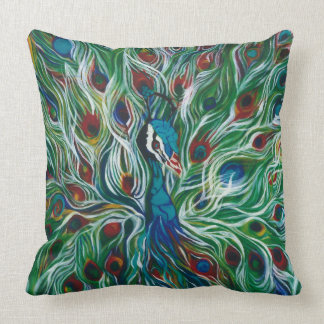 Peacock Feathers Fully Covered Designer Pillow