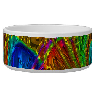 Peacock Feathers Glass Art 1 Pet Bowl