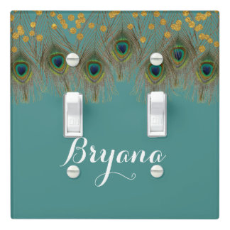 Peacock Feathers & Gold Dots ANY COLOR Glam Chic Light Switch Cover