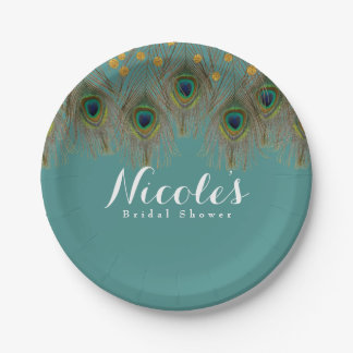 Peacock Feathers & Gold Dots ANY COLOR Party Paper Plate