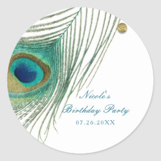 Peacock Feathers & Gold Dots Boho Glam Party Classic Round Sticker