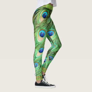 Peacock Feathers Green Blue Exotic Bird Leggings
