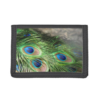 Peacock feathers green blue tri-fold wallet