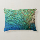 Peacock Feathers I Colourful Abstract Nature Decorative Pillow