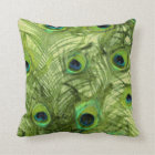 Peacock Feathers in Blue and Green Throw Pillow