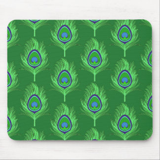 Peacock Feathers, Lime Green on Emerald Green Mouse Pad