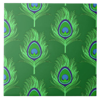 Peacock Feathers, Lime Green on Emerald Green Tile
