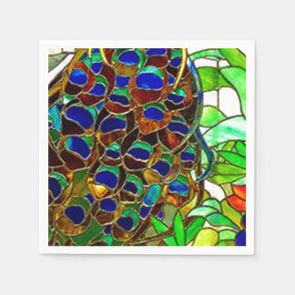 Peacock Feathers Mosaic Stained Glass Window Paper Napkin