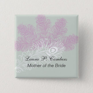 Peacock Feathers  Mother of the Bride 2 Inch Square Button