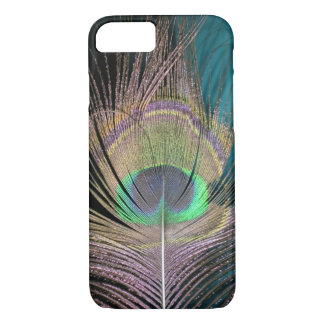 Peacock Feathers on black and turquoise iPhone 7 Case