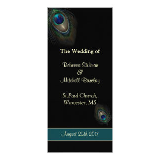 Peacock feathers on black Wedding program Rack Card Design