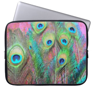 Peacock Feathers on Pink Laptop Sleeve
