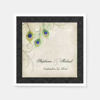 Peacock Feathers Parchment Wedding Reception Decor Paper Napkins