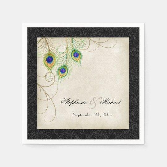 Peacock Feathers Parchment Wedding Reception Decor Paper Napkins