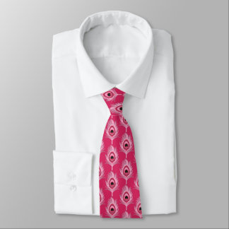 Peacock Feathers, Pastel Pink on Fuchsia Pink Tie
