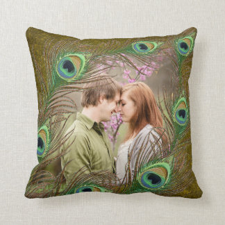 Peacock feathers personalized add photo pillow