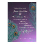 Peacock Feathers Purple Wedding Personalized Announcement