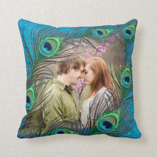 Peacock feathers romantic photo frame pillow