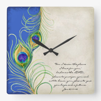 Peacock Feathers Royal Damask Christian Scripture Square Wall Clock