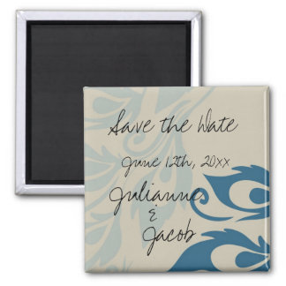 Peacock Feathers Save the Date Square Magnet