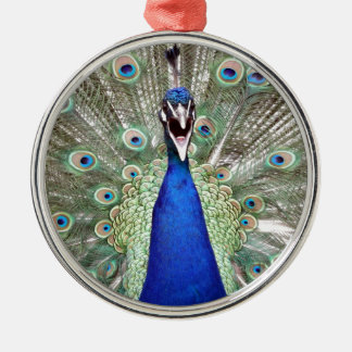 Peacock Feathers Silver-Colored Round Ornament