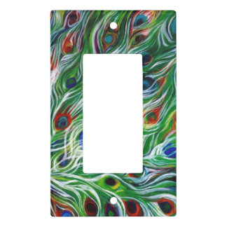 Peacock Feathers Single Rocker Light Switch Cover