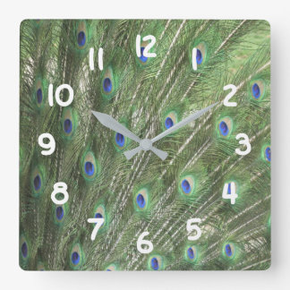 Peacock Feathers Square Wall Clock