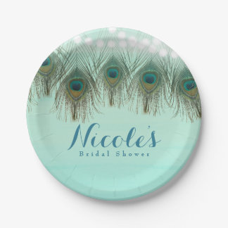 Peacock Feathers & String Lights Rustic Party Paper Plate