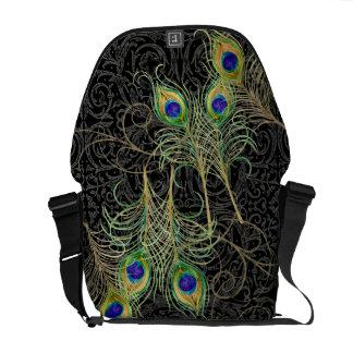 Peacock Feathers Swirl Damask Trendy Chic Pattern Messenger Bag