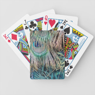 Peacock Feathers Tan Green And blue Bicycle Playing Cards