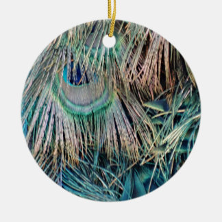 Peacock Feathers Tan Green And blue Ceramic Ornament