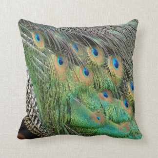 Peacock Feathers Tan Green And blue Colors Throw Pillow