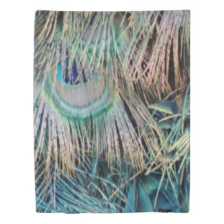 Peacock Feathers Tan Green And blue Duvet Cover